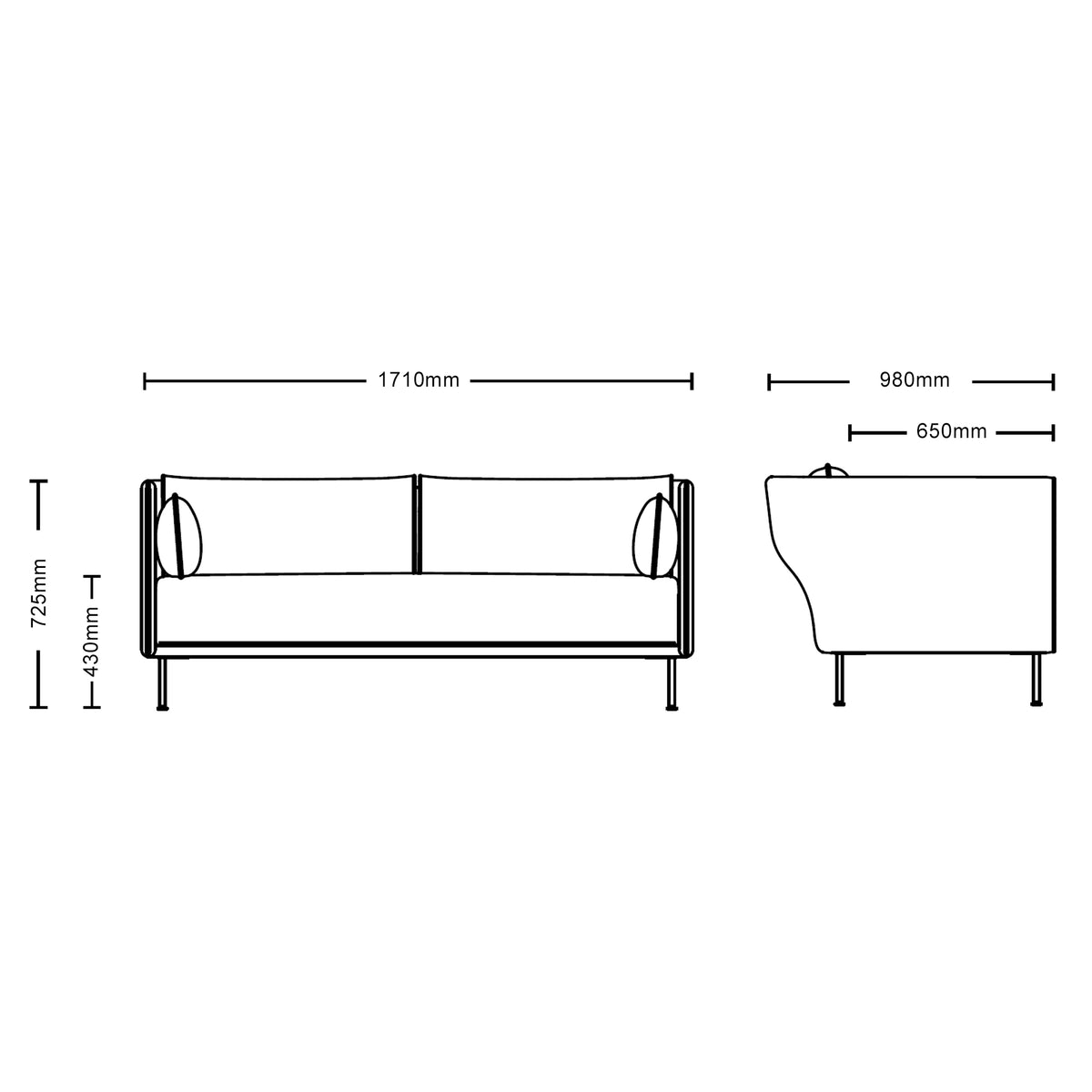 Dimensions for HAY Office Silhouette Sofa 2 Seater - Oak Leg