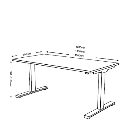 Dimensions for Mobili Office Electric Sit Stand, Height Adjustable Desk