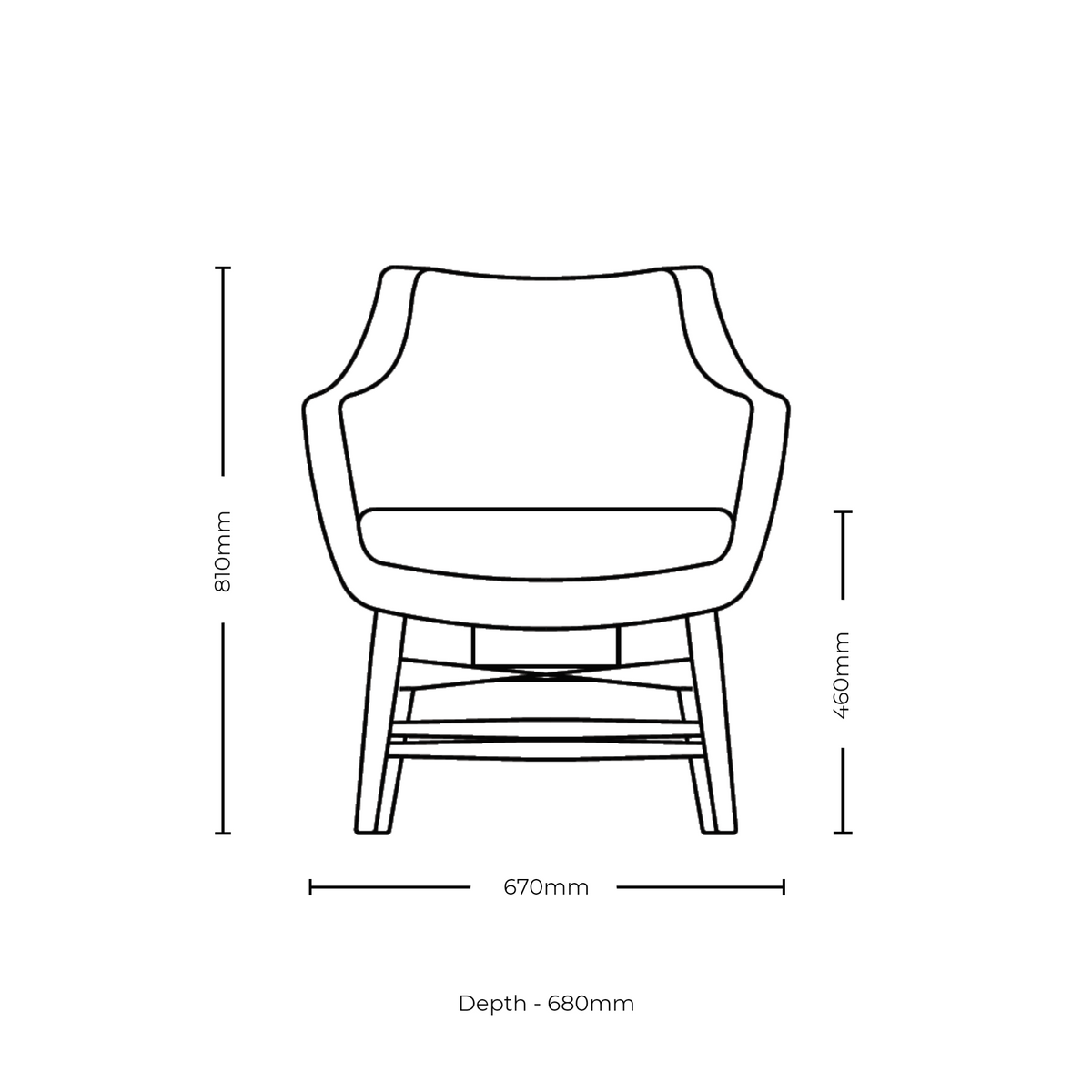 Dimensions for Roger Lewis Office Sintra Compact Chair Timber Base