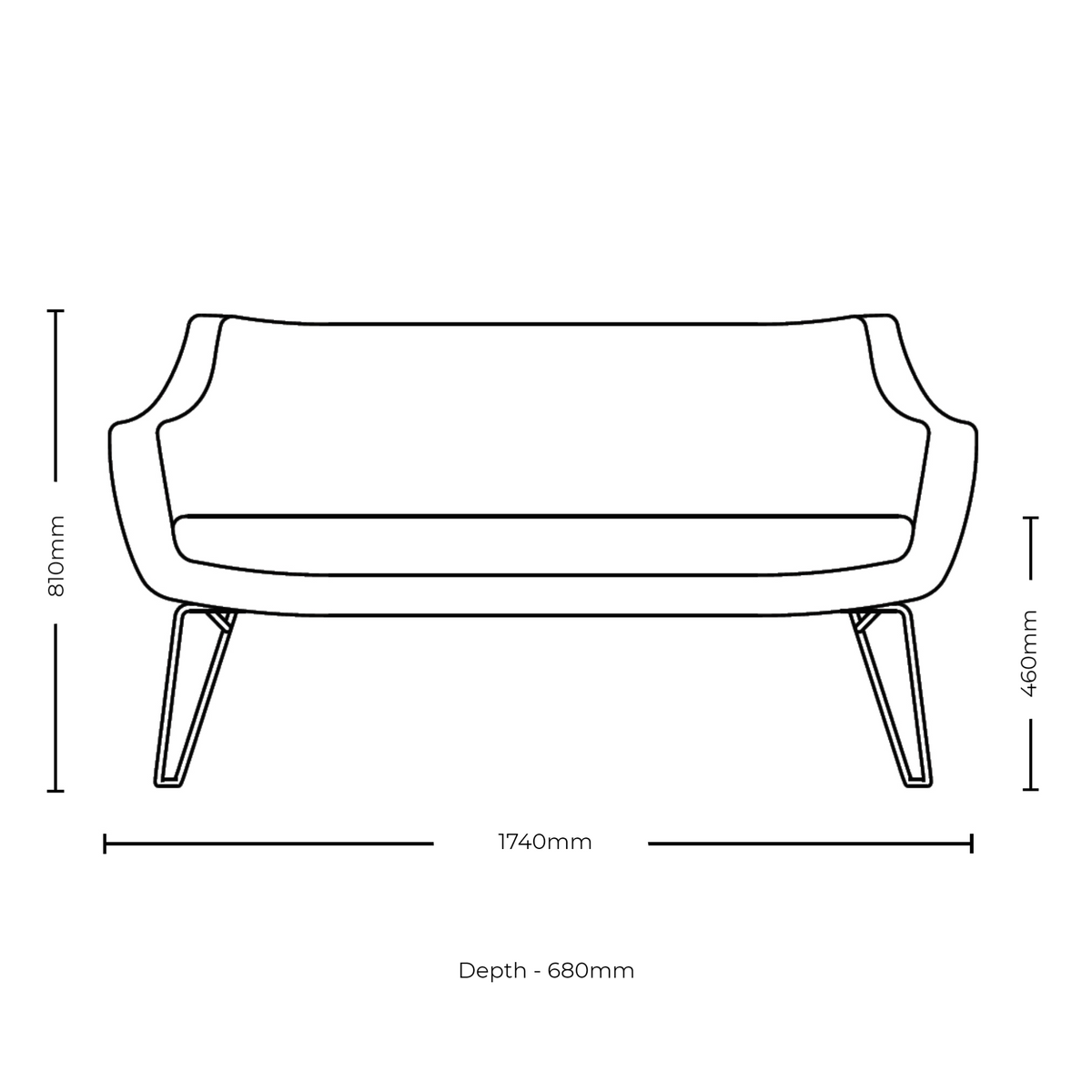 Dimensions for Roger Lewis Office Sintra Medium Sofa