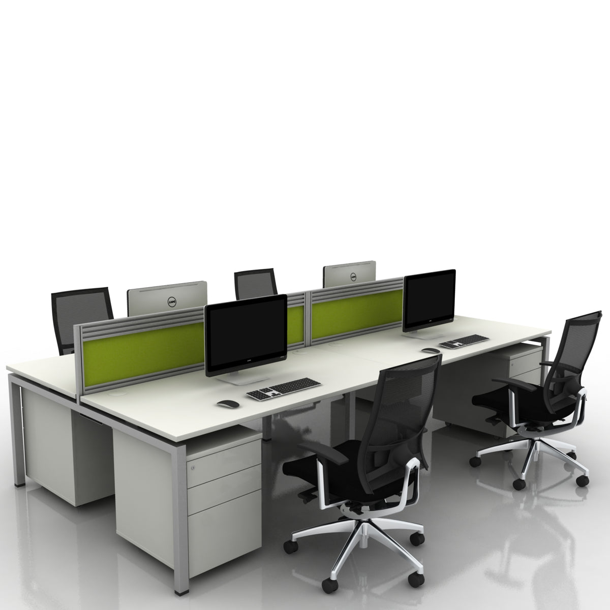 Mobili Office Four Person Back to Back Desk