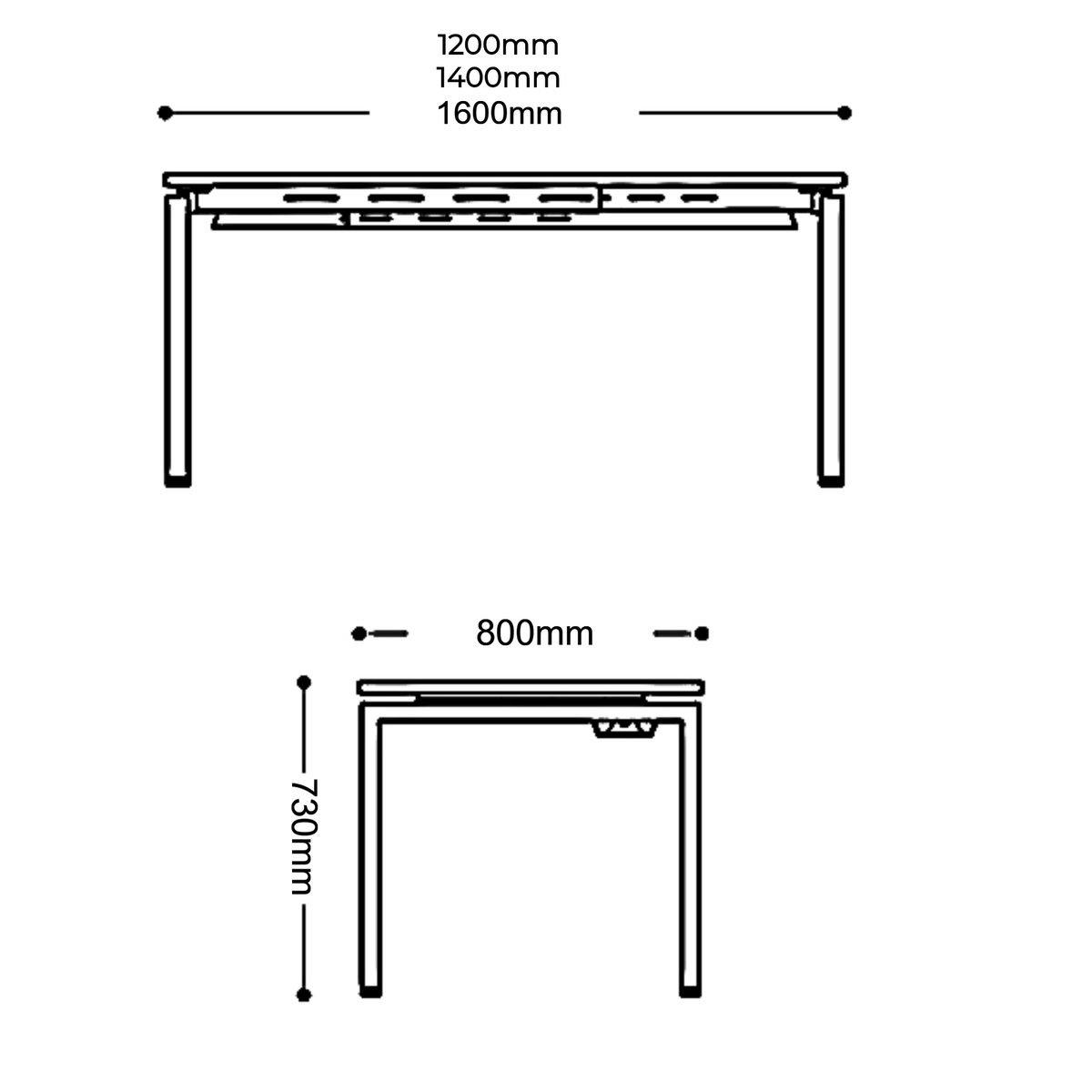Dimensions for Mobili Office White Single Fixed Height Desk