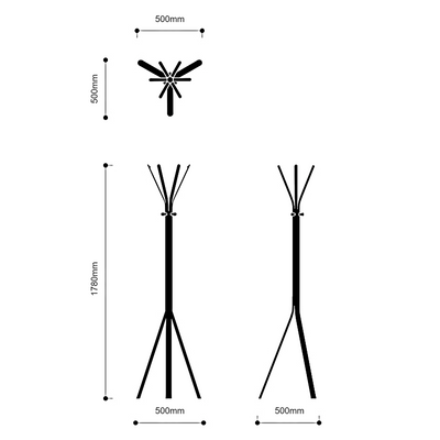 Dimensions for Spacestor Office Nine Coat Stand