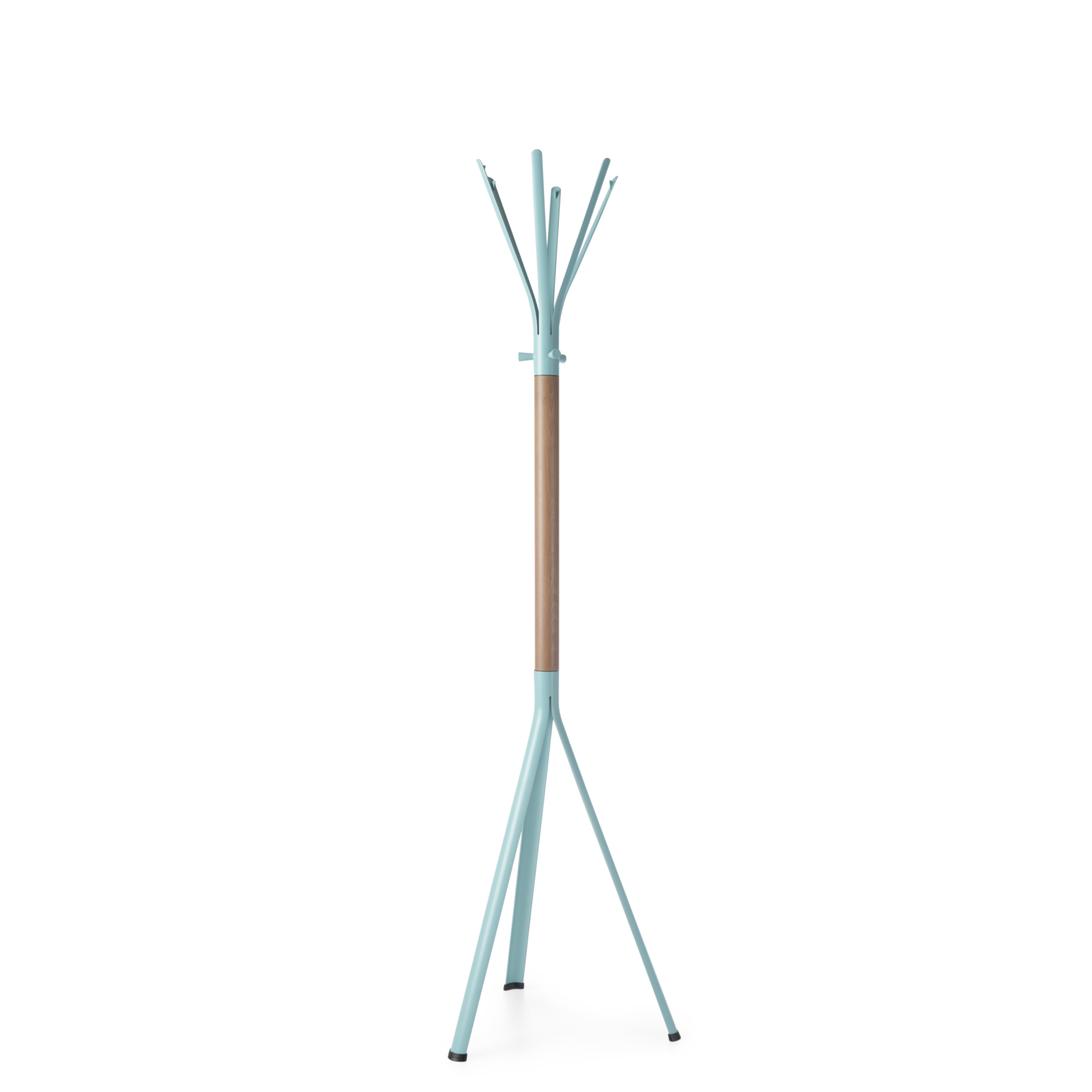 Spacestor Office Nine Coat Stand Pastel Turquoise with Beech Column