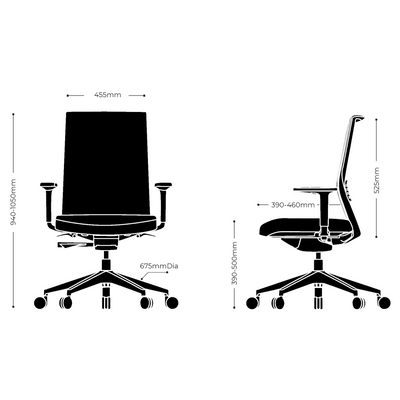 Dimensions for Actiu Office Stay Task Chair - Mesh Back Red