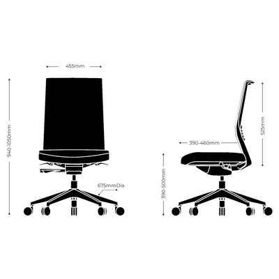 Dimensions for Actiu Office Stay Task Chair - Upholstered Back