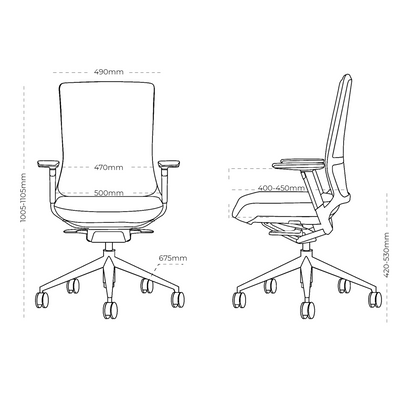 Dimensions for Actiu Office TNK 500 Task Chair - Upholstered Back