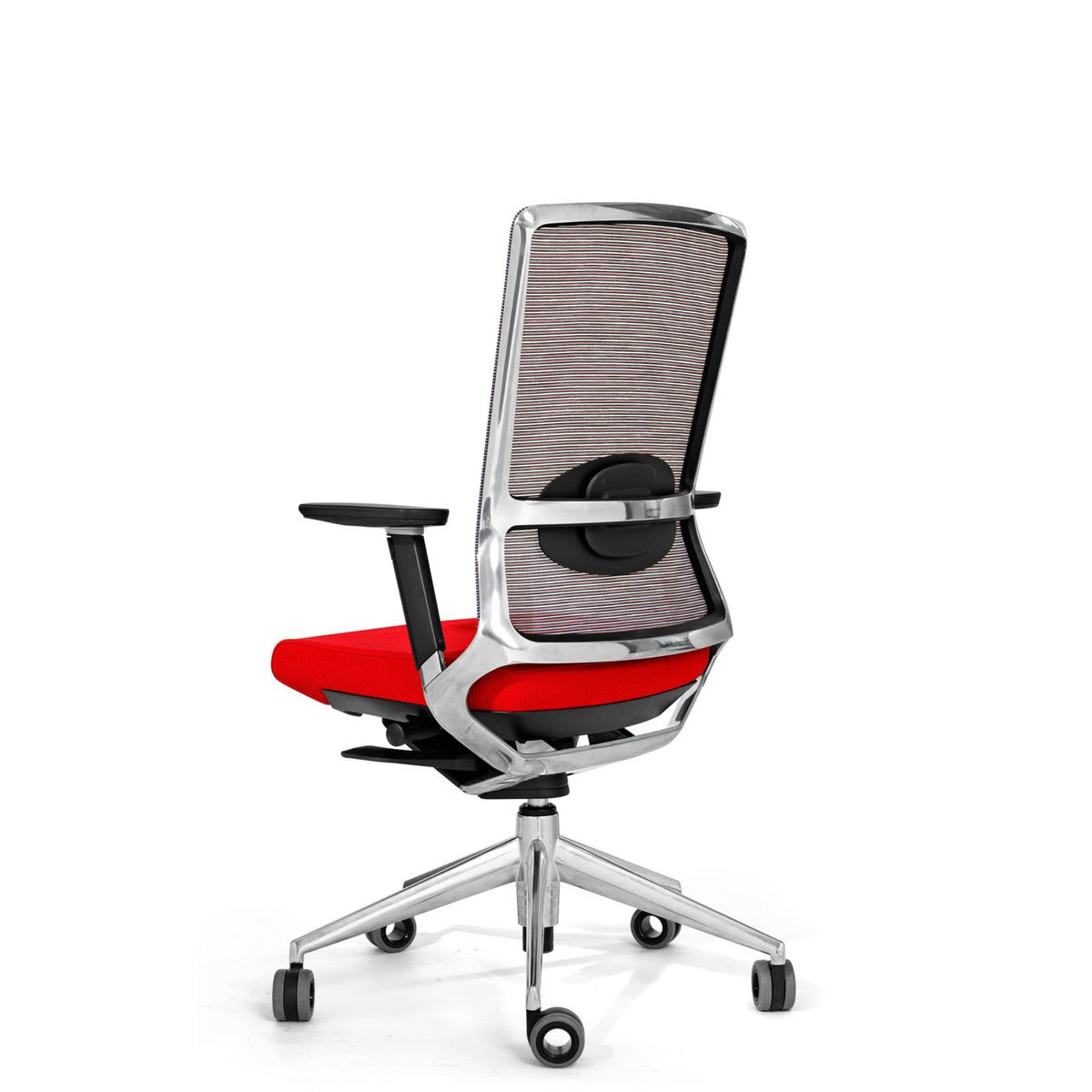 Actiu Office TNK 500 Task Chair - Mesh Back Red with Polished Aluminium Frame