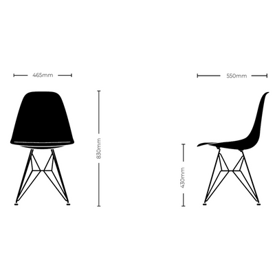 Vitra Eames Plastic Side Chair DSR Powder Coated for Outdoor Use. Chair Dimensions