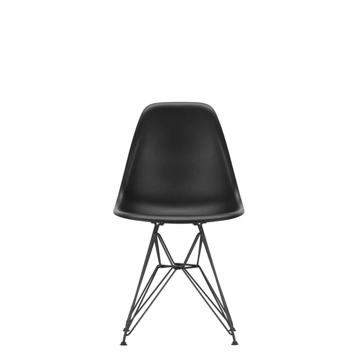 Vitra Eames Plastic Side Chair DSR Powder Coated for Outdoor Use Deep Black Shell Black Powdercoated Base