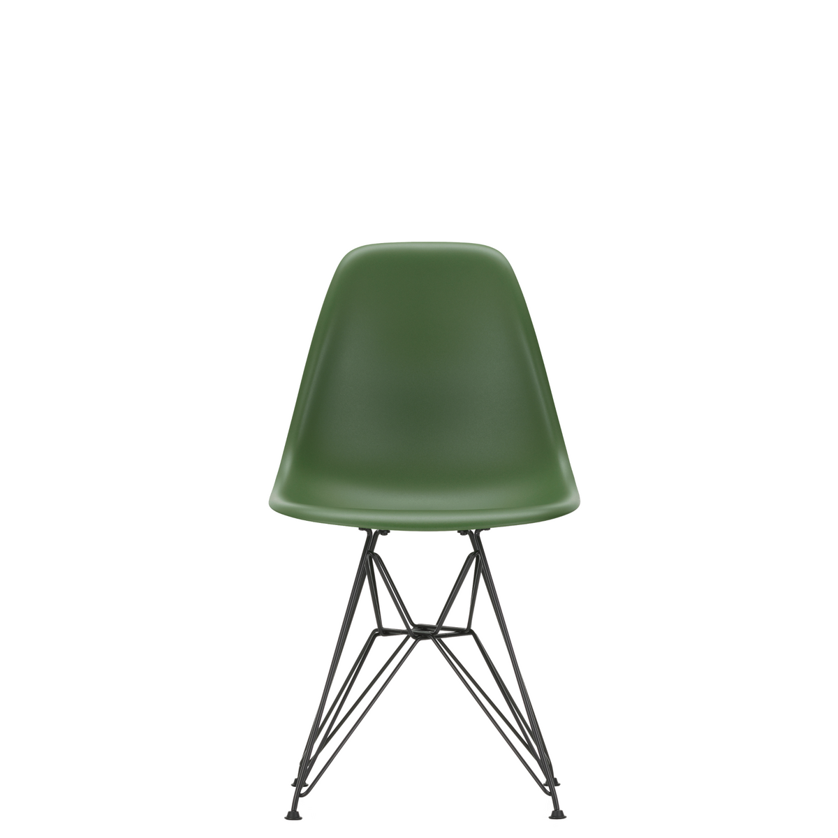 Vitra Eames Plastic Side Chair DSR Powder Coated for Outdoor Use Dark Forest Green Shell Black Powdercoated Base