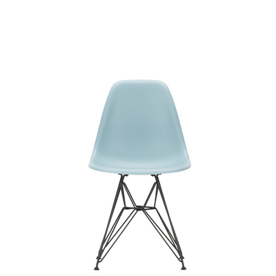 Vitra Eames Plastic Side Chair DSR Powder Coated for Outdoor Use Ice Grey Shell Black Powdercoated Base
