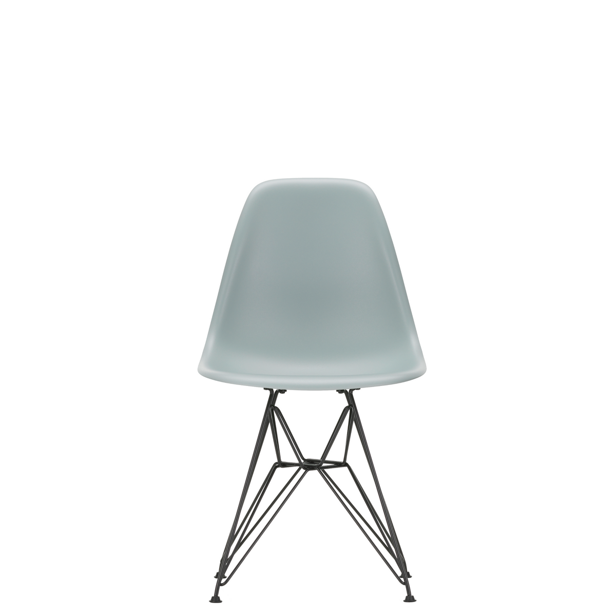 Vitra Eames Plastic Side Chair DSR Powder Coated for Outdoor Use Light Grey Shell Black Powdercoated Base