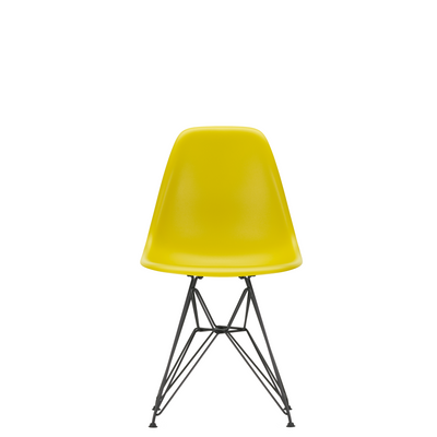 Vitra Eames Plastic Side Chair DSR Powder Coated for Outdoor Use Mustard Shell Black Powdercoated Base