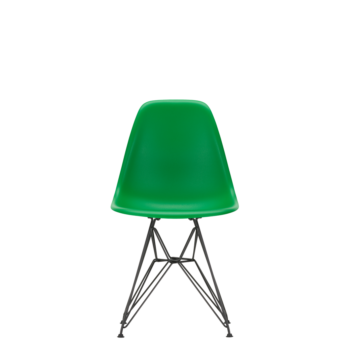 Vitra Eames Plastic Side Chair DSR Powder Coated for Outdoor Use Pale Green Shell Black Powdercoated Base