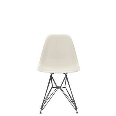 Vitra Eames Plastic Side Chair DSR Powder Coated for Outdoor Use Pebble White Shell Black Powdercoated Base