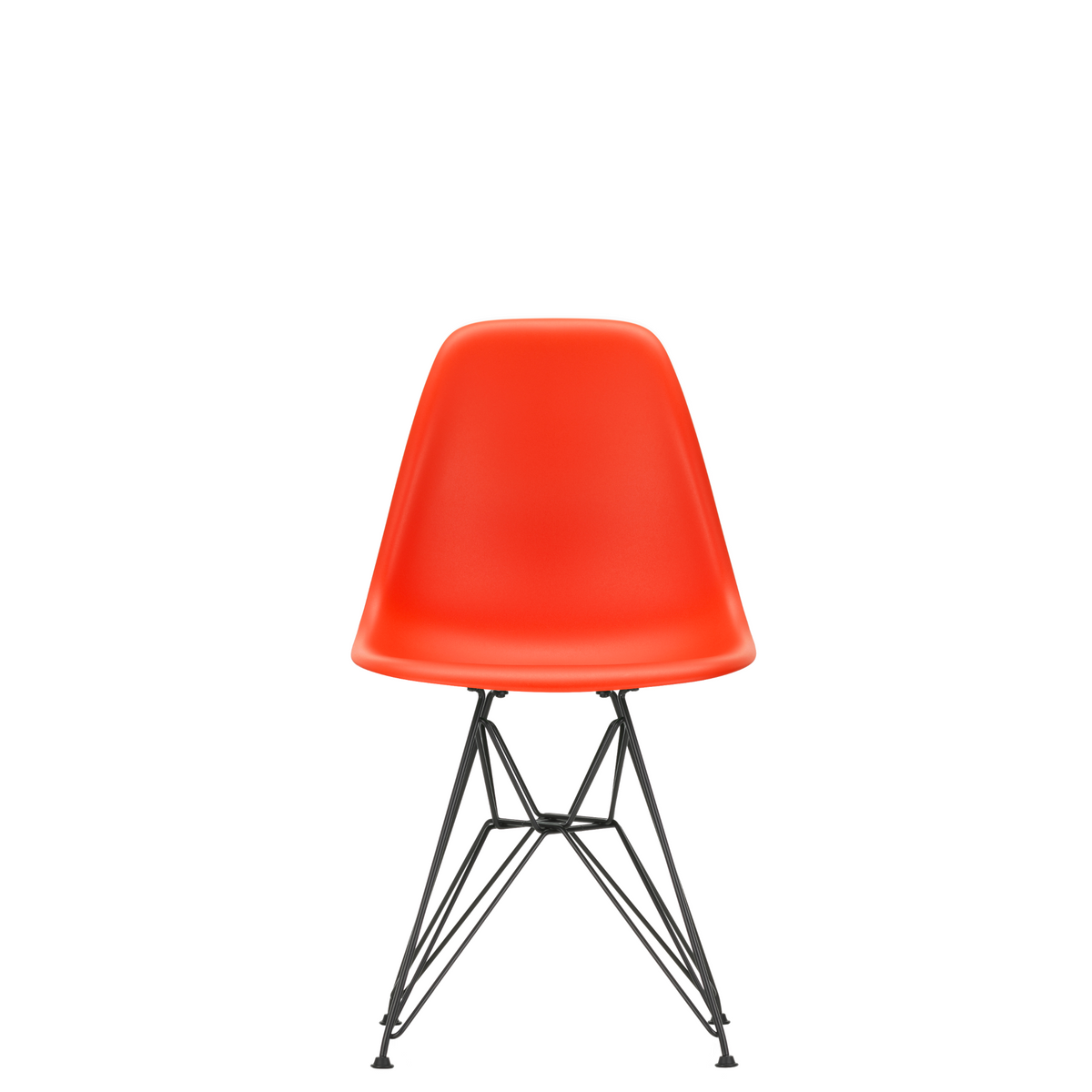 Vitra Eames Plastic Side Chair DSR Powder Coated for Outdoor Use Poppy Red Shell Black Powdercoated Base