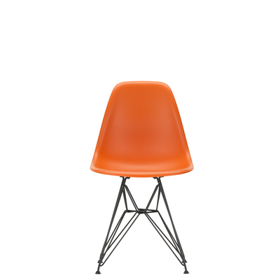 Vitra Eames Plastic Side Chair DSR Powder Coated for Outdoor Use Rusty Orange Shell Black Powdercoated Base