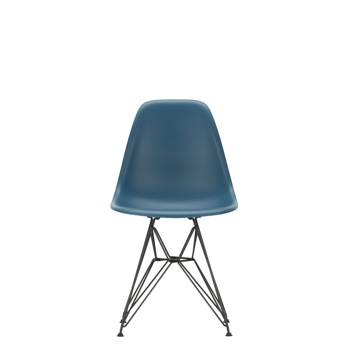 Vitra Eames Plastic Side Chair DSR Powder Coated for Outdoor Use Sea Blue Shell Black Powdercoated Base
