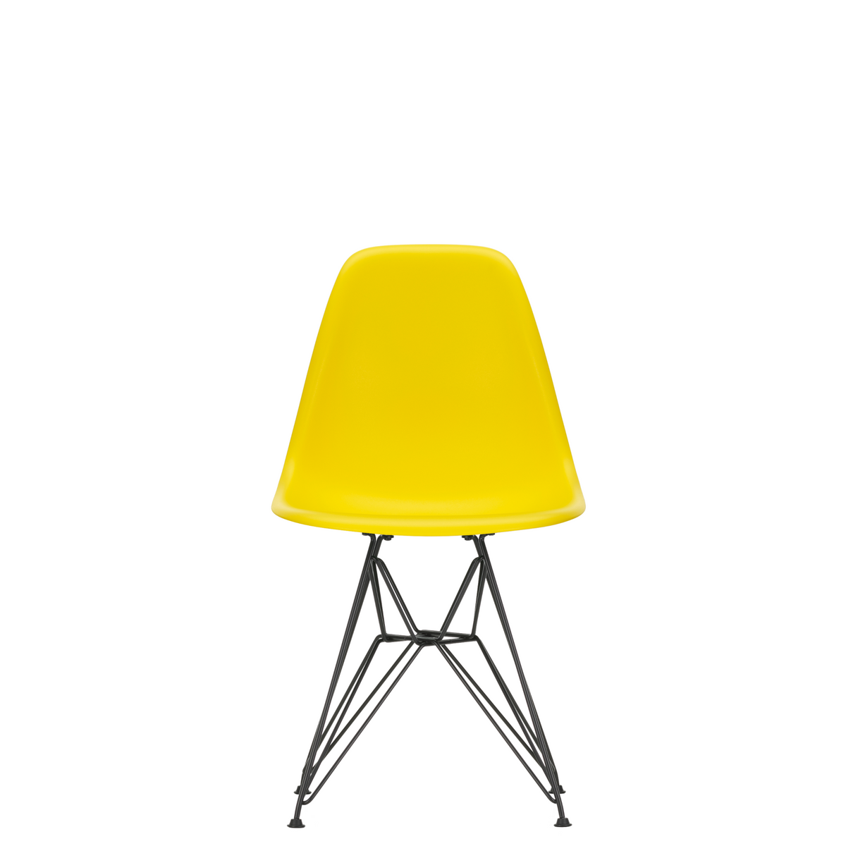 Vitra Eames Plastic Side Chair DSR Powder Coated for Outdoor Use Sunlight Yellow Shell Black Powdercoated Base