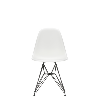 Vitra Eames Plastic Side Chair DSR Powder Coated for Outdoor Use White Shell Black Powdercoated Base