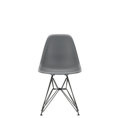 Vitra Eames Plastic Side Chair DSR Powder Coated for Outdoor Use Granite Grey Shell Black Powdercoated Base
