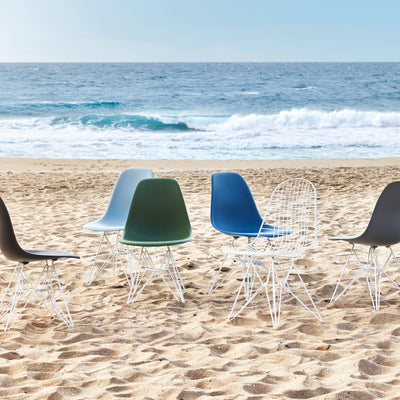 Vitra Eames Plastic Side Chair DSR Powder Coated for Outdoor Use. Beach Setting