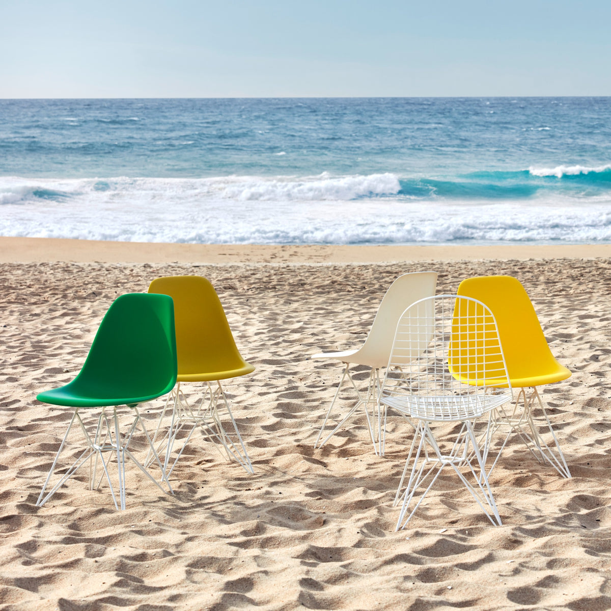 Vitra Eames Plastic Side Chair DSR Powder Coated for Outdoor Use. Seaside Setting