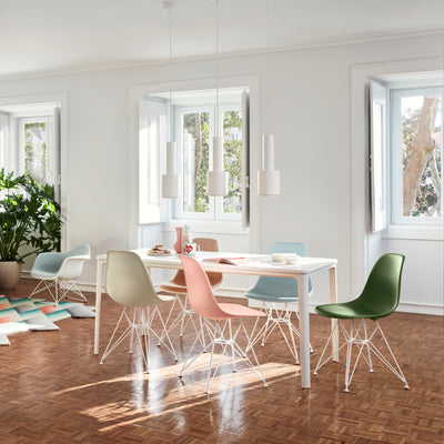 Vitra Eames Plastic Side Chair DSR Powder Coated for Outdoor Use. Kitchen Chair Setting