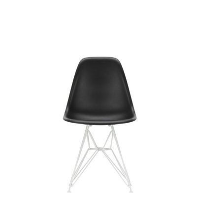 Vitra Eames Plastic Side Chair DSR Powder Coated for Outdoor Use. Deep Black Shell, White Powdercoated Base