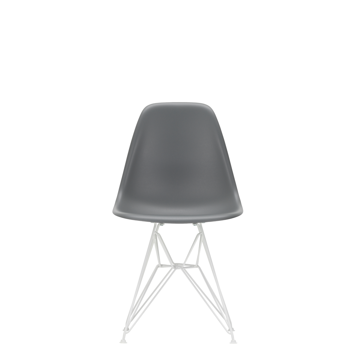 Vitra Eames Plastic Side Chair DSR Powder Coated for Outdoor Use. Granite Grey Shell, White Powdercoated Base