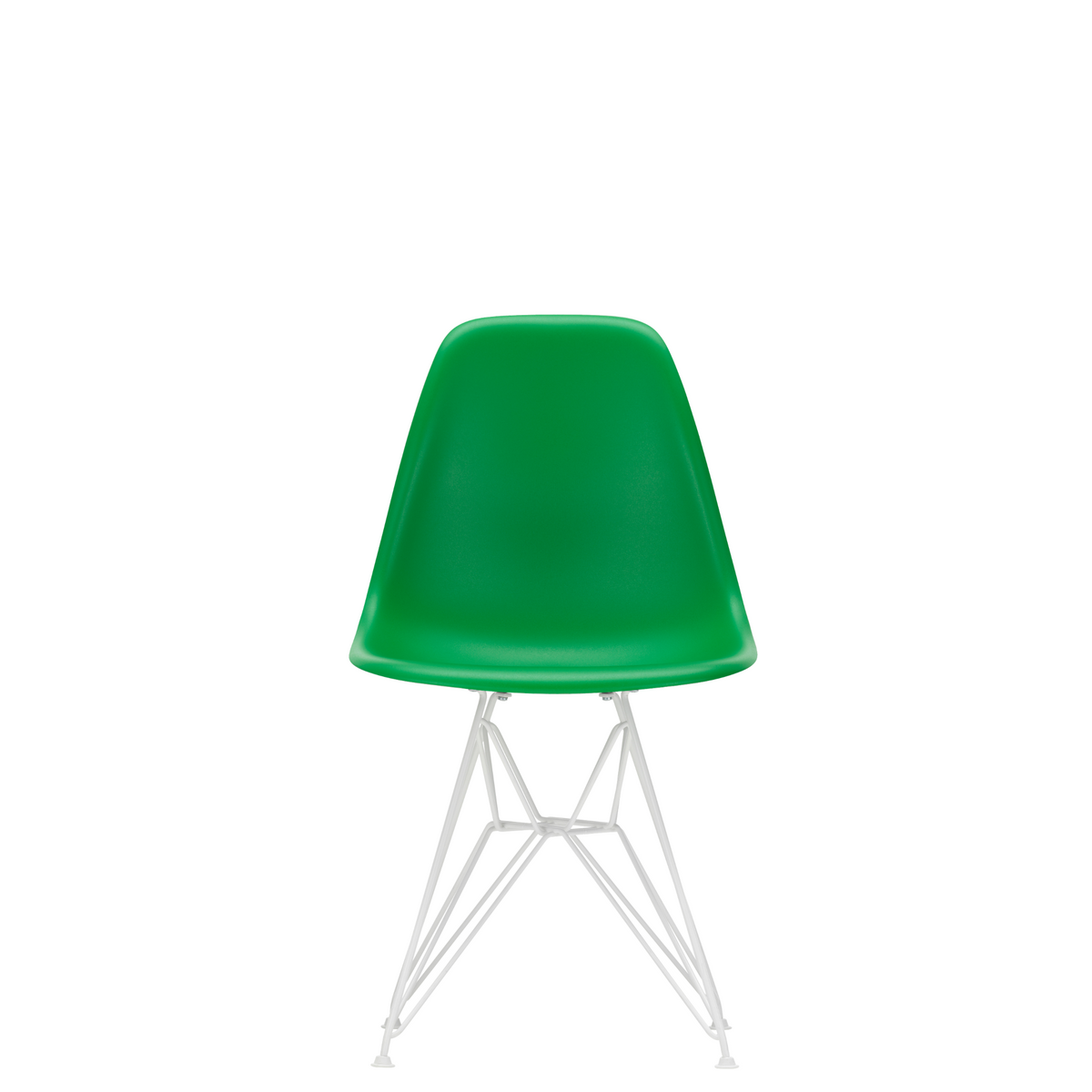 Vitra Eames Plastic Side Chair DSR Powder Coated for Outdoor Use. Green Shell, White Powdercoated Base