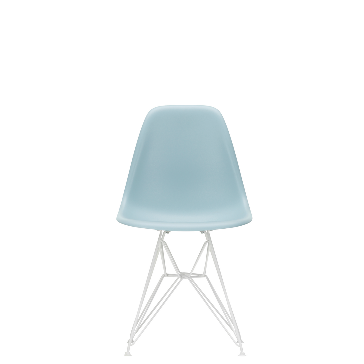Vitra Eames Plastic Side Chair DSR Powder Coated for Outdoor Use Ice Grey Shell White Powdercoated Base