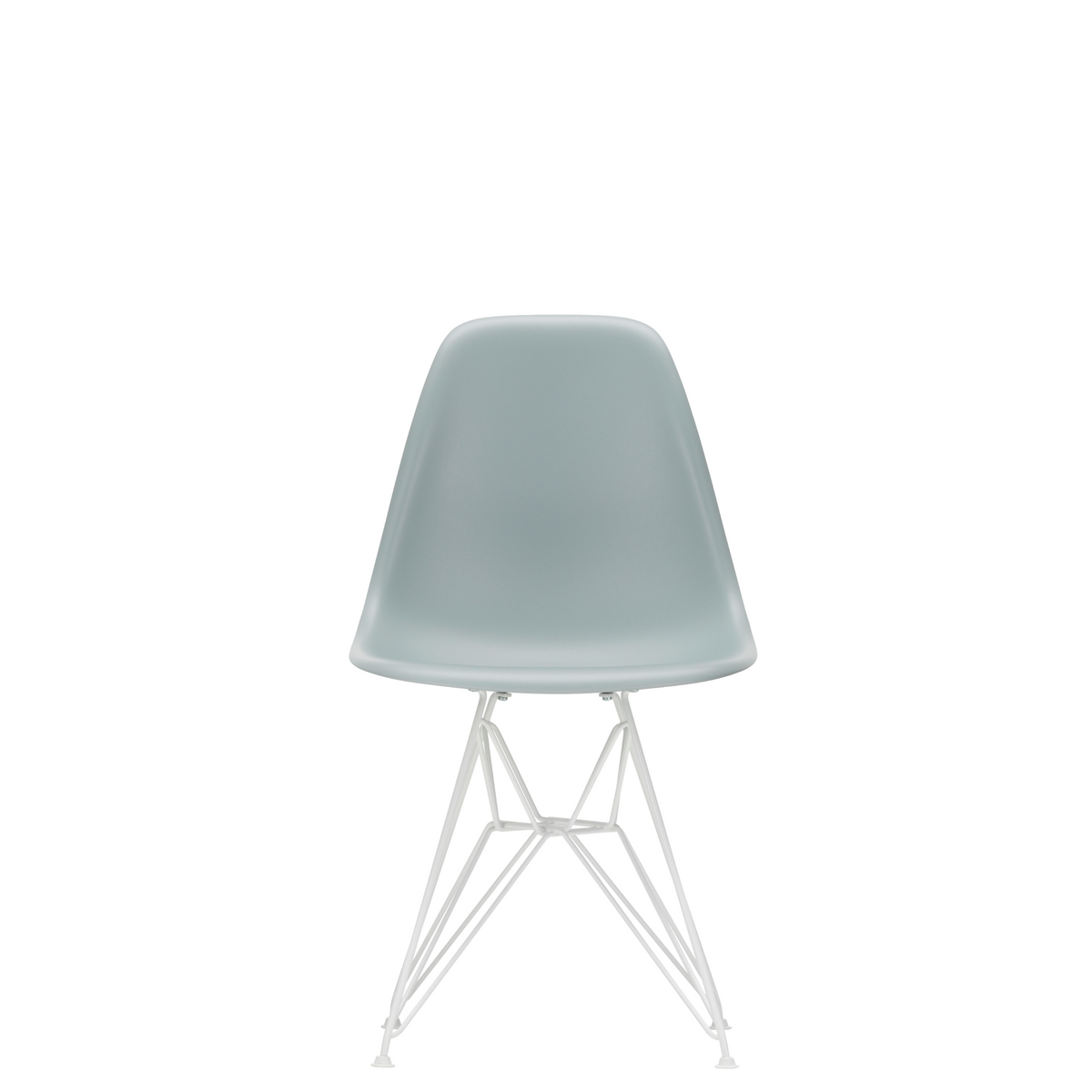 Vitra Eames Plastic Side Chair DSR Powder Coated for Outdoor Use. Light Grey Shell, White Powdercoated Base
