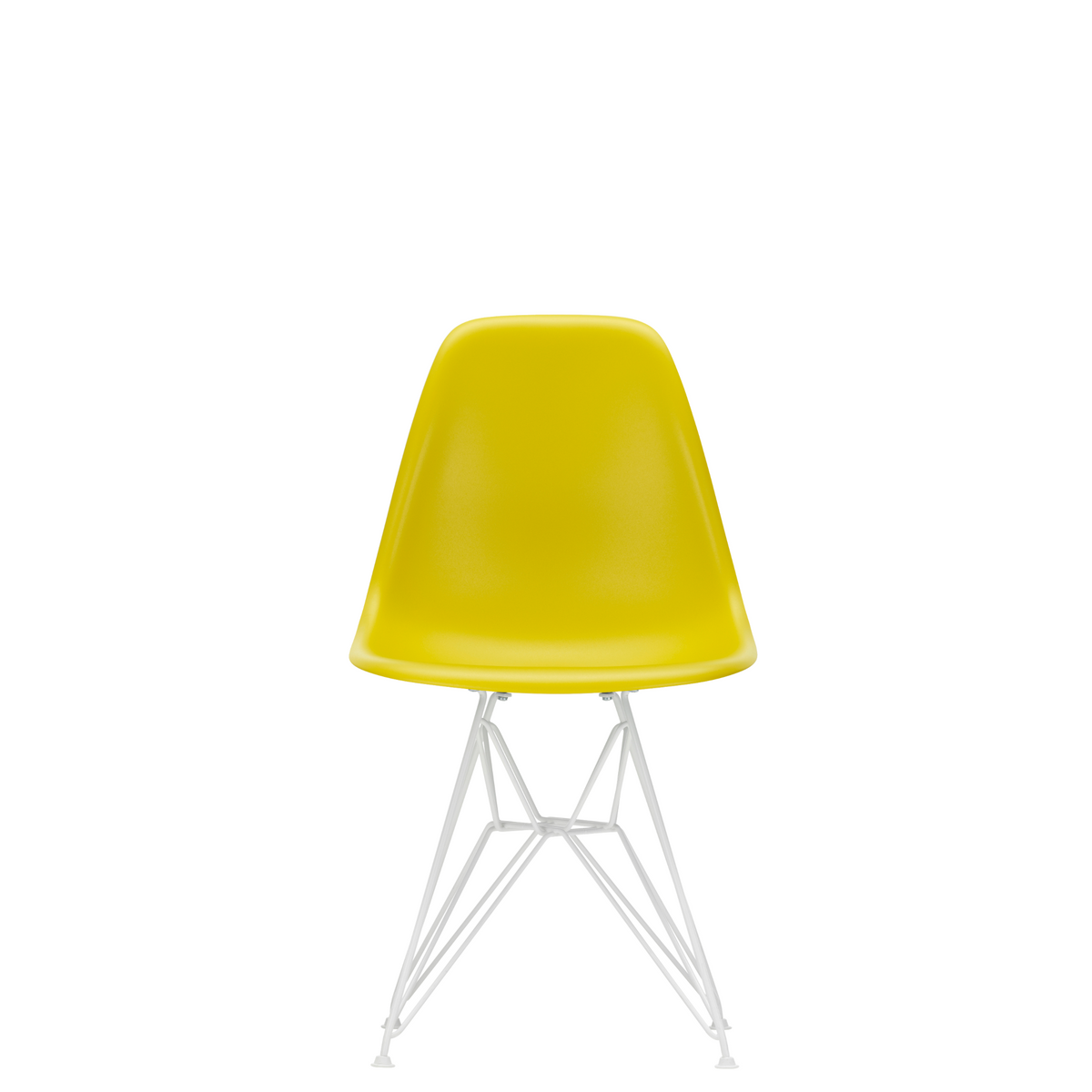 Vitra Eames Plastic Side Chair DSR Powder Coated for Outdoor Use. Mustard Shell, White Powdercoated Base
