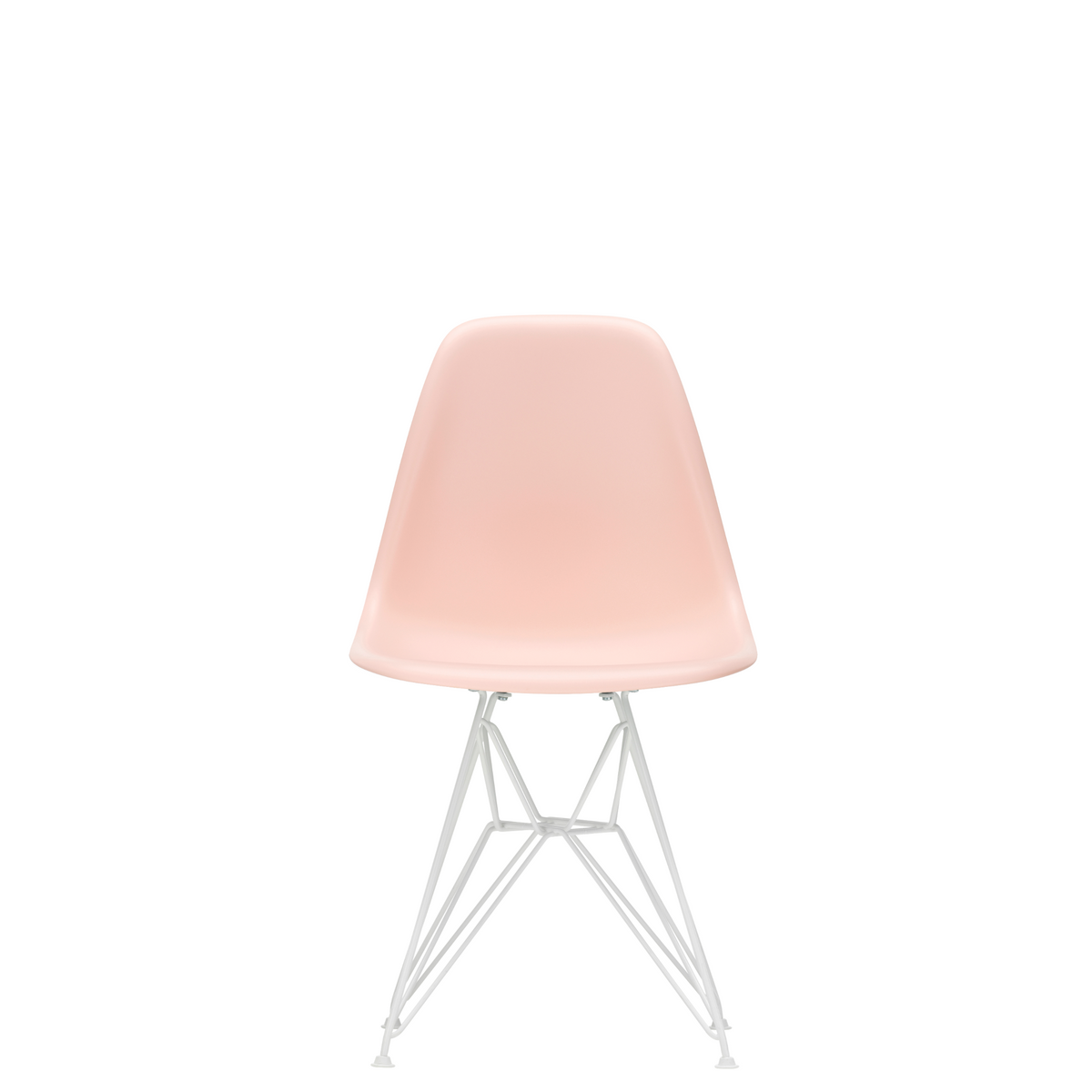 Vitra Eames Plastic Side Chair DSR Powder Coated for Outdoor Use. Pale Rose Shell, White Powdercoated Base