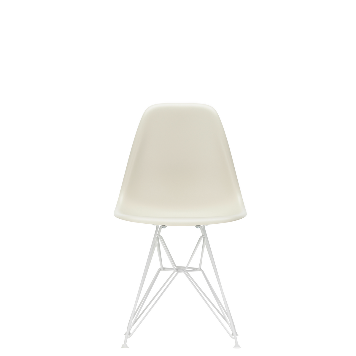 Vitra Eames Plastic Side Chair DSR Powder Coated for Outdoor Use. Pebble White Shell, White Powdercoated Base