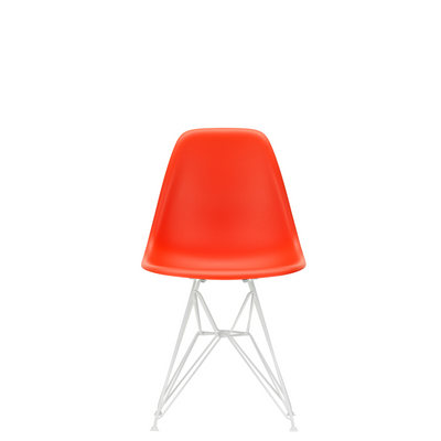 Vitra Eames Plastic Side Chair DSR Powder Coated for Outdoor Use Poppy Red Shell White Powdercoated Base