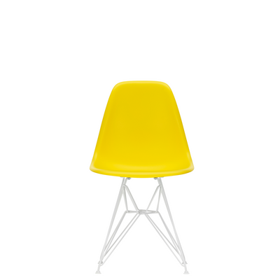 Vitra Eames Plastic Side Chair DSR Powder Coated for Outdoor Use Sunlight Yellow Shell White Powdercoated Base