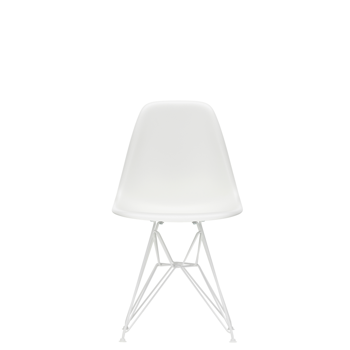 Vitra Eames Plastic Side Chair DSR Powder Coated for Outdoor Use. White Shell, White Powdercoated Base