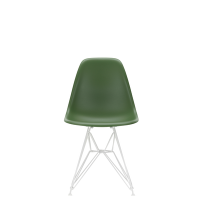 Vitra Eames Plastic Side Chair DSR Powder Coated for Outdoor Use. Forest Green Shell, White Powdercoated Base