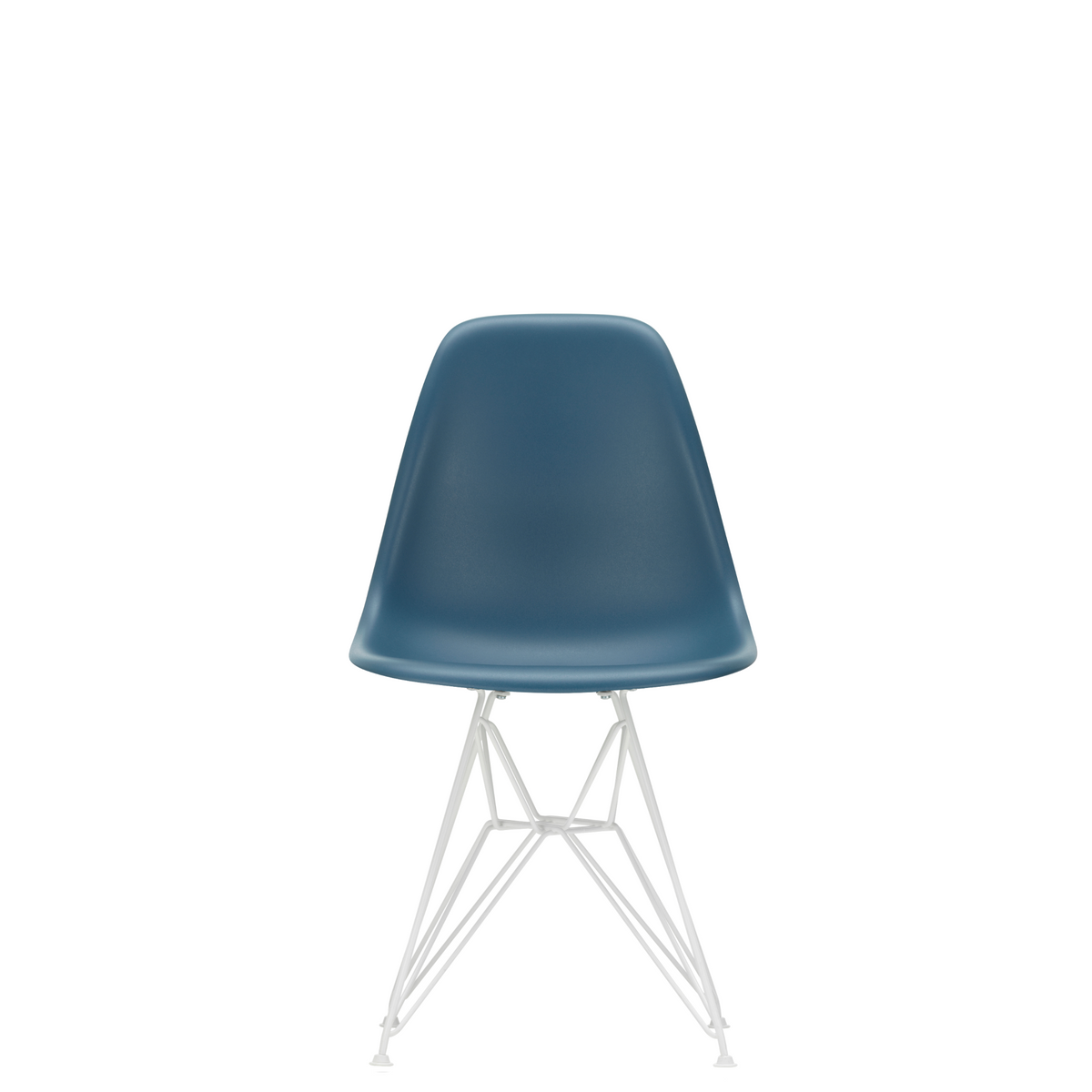 Vitra Eames Plastic Side Chair DSR Powder Coated for Outdoor Use Sea Blue Shell White Powdercoated Base
