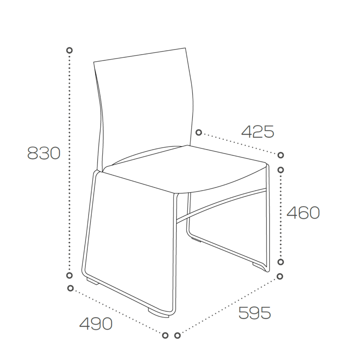 Dimensions for Connection Office Xpresso Stackable Chairs - Set of Four