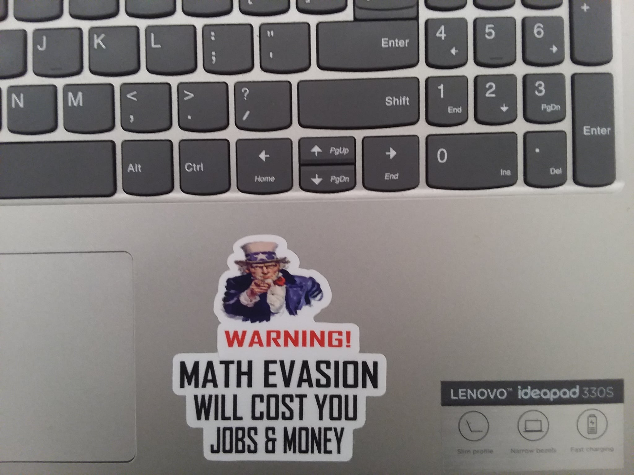 Warning! Math Evasion Will Cost You Jobs & Money Vinyl Sticker