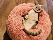 Load image into Gallery viewer, Round Plush Cat/Small Dog Sleeping Bed