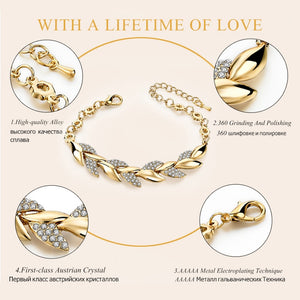Fashion Braided Gold Color Crystal Leaf Bracelets & Bangles Charms With Stones !