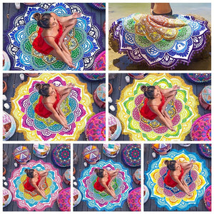 Beach Towel or Tassel Yoga Mat   Indian Mandala Blankets