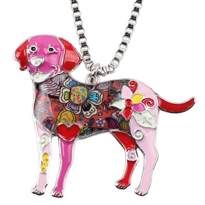 Enamel Labrador Dog Choker Necklace Chain Pendant