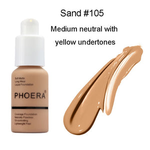"""PHOERA"" Perfect Beauty New 30ml Foundation Soft Matte Long Wear Oil Control Concealer"