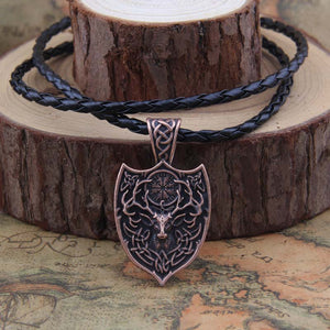 Large Deer Sekira Viking Nordic Talisman Pendant Necklace